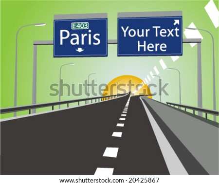"Route to Paris "" Route Du Soleil "" , with "" Exit Sign "" ready for your custom text. - stock vector"