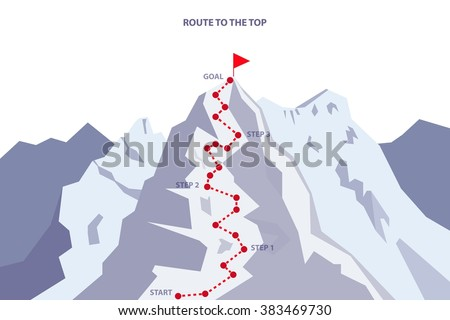 Route to the Top / Career growth / Goal achieving concept - Vector infographic - stock vector