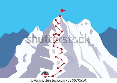 Route to the Top - climbing, alpinism, mountaineering / Career growth / Goal achieving concept - Vector infographic - stock vector