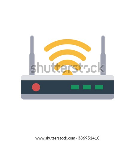 Router flat icon. Isolated router on white background. Vector router. Router and signal symbol. Wi-Fi router. Router close-up - stock vector