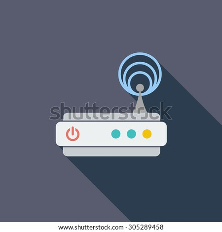 Router icon. Flat vector related icon with long shadow for web and mobile applications. It can be used as - logo, pictogram, icon, infographic element. Vector Illustration. - stock vector