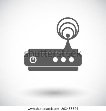 Router. Single flat icon on white background. Vector illustration. - stock vector