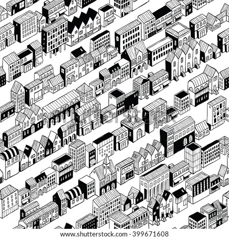Row City Seamless Pattern is isometric doodle drawing, a string of different buildings stretched along the continuous line. Illustration is in eps8 vector mode, pattern is repetitive.
