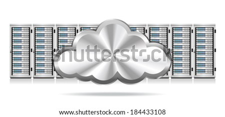 Row Network Servers with Cloud Icon - Information technology conceptual image  - stock vector