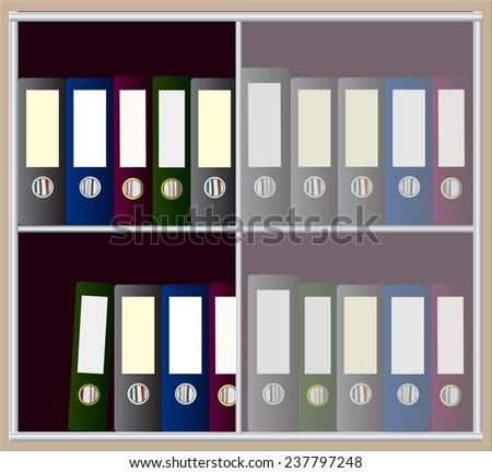 row of binders at shelf vector - stock vector