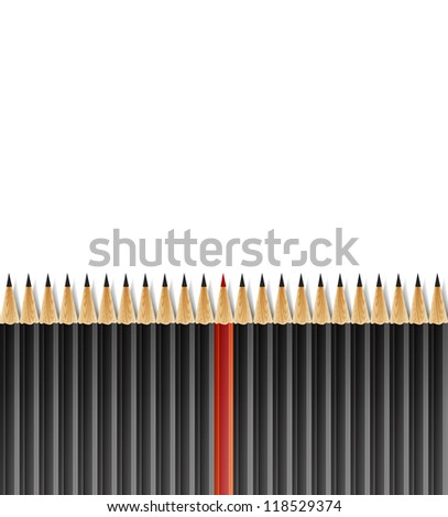 Row of Black Pencils With One Selected Red on White Background - stock vector