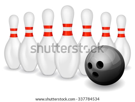 Row of bowling pins and black bowling ball - stock vector
