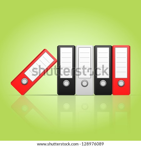 Row of color binders vector, red, gray, black. Illustration of Office folders for documents stacked vertically, eps 10
