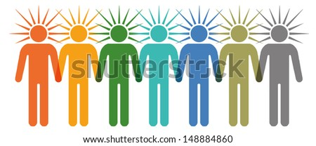 Row of colorfull stick figures standing together and holding hands - stock vector