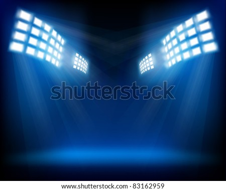 Row of floodlights. Vector illustration. - stock vector