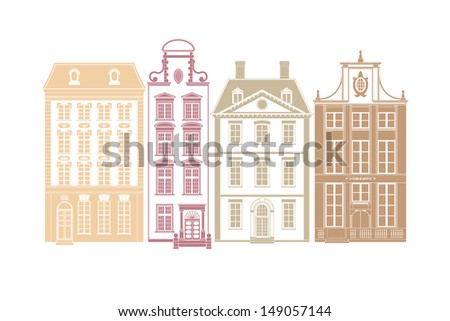 Row of four townhouses in 19th century styles. Each house on own layer with easily editable color swatch. - stock vector