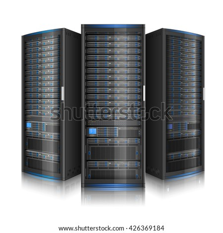 Row of network servers, illustration of data center, or super computer, EPS 10 contains transparency - stock vector