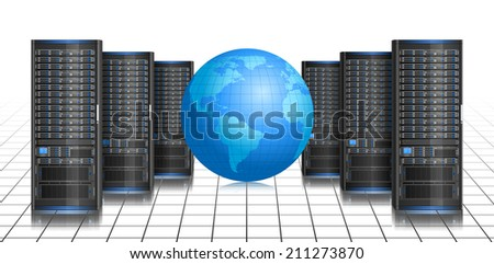 Row of servers with globe, illustration of global internet, EPS 8 - stock vector