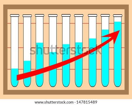 Row of test tubes  with graph .Vector illustation