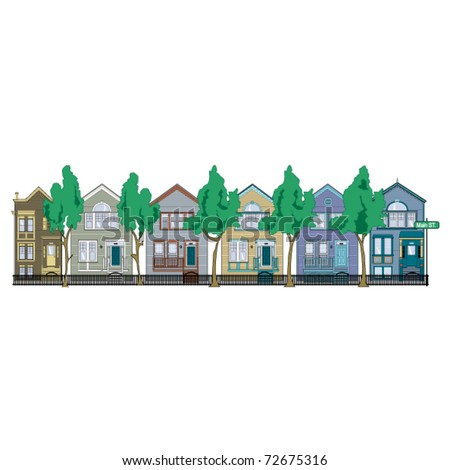 Row of Victorian style houses on a street or in a neighborhood. - stock vector
