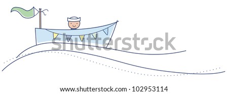 Row Row Row your boat little baby boy illustration