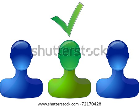 Row with blue persons with green person in middle which is selected - stock vector