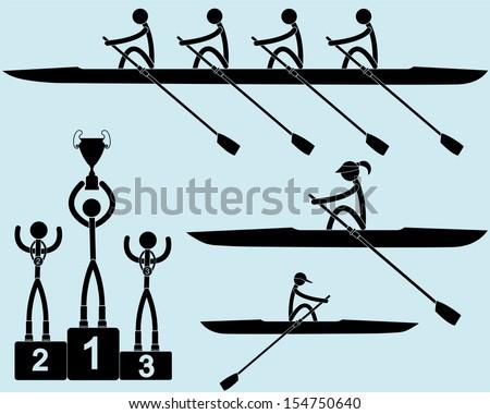 Rowing  - stock vector
