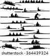 rowing collection silhouettes - vector - stock photo