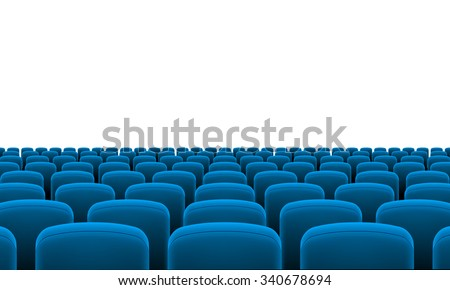Rows of Cinema or Theater Blue Seats - stock vector