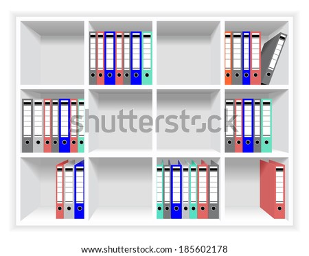 Rows of folders with documents on a shelf in the office. - stock vector