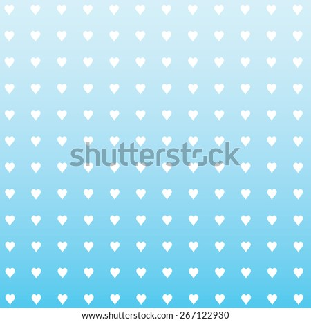 rows of hearts with faded blue background - stock vector