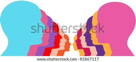 Rows of male female couples face off as men and women silhouettes - stock vector