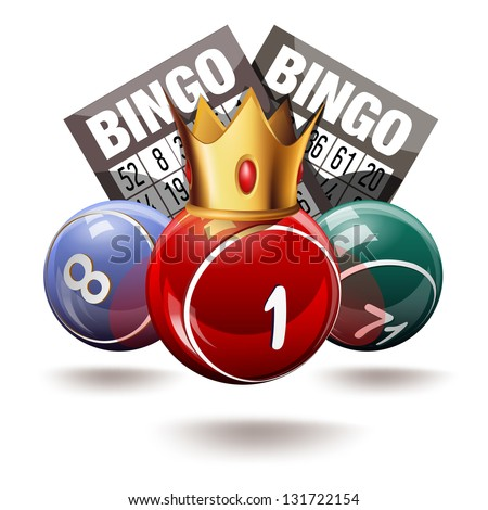 Royal bingo or lottery balls and cards - stock vector