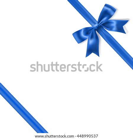 royal blue silky bow and ribbon corner on white background. vector