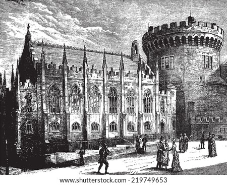 Royal Chapel and the Tower, vintage engraved illustration. Journal des Voyages, Travel Journal, (1879-80).