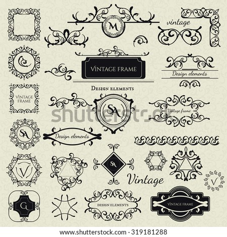Royal Collection - 2 of Logo templates, Frames, Caligraphic elements, Borders, Corners, Monograms and others. Business sign, identity for Restaurant, Boutique, Cafe, Hotel etc.  Vector