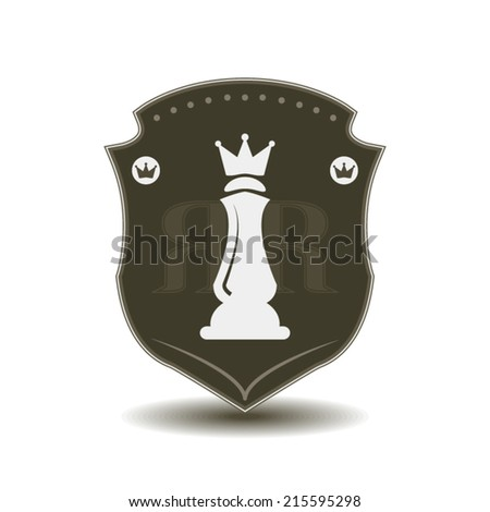 Royal crest shield with queen emblem concept dark green style stamp - stock vector