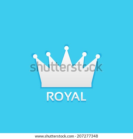 royal crown, flat icon isolated on a blue background for your design, vector illustration - stock vector