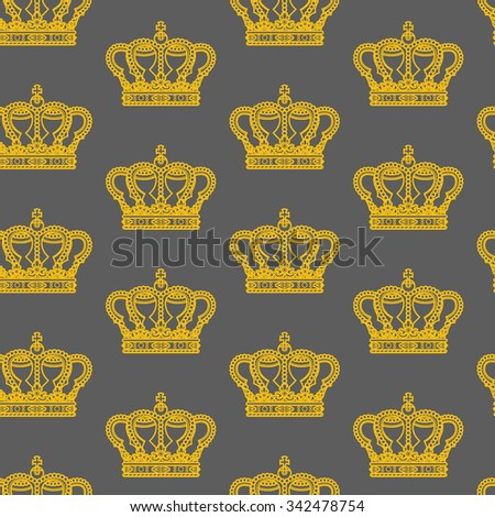 Royal crown on gray background seamless pattern texture