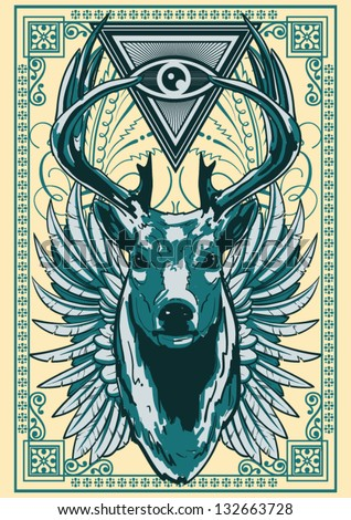 Royal deer - stock vector