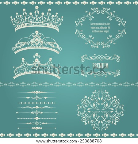 Royal design elements, vintage frames, dividers, borders, pearls and diadems in golden beige. Vector illustration. Isolated on vintage blue background. Can use for birthday card, wedding invitation - stock vector