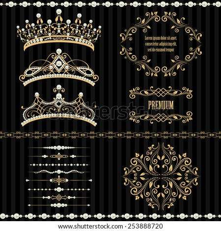 Royal design elements, vintage frames, dividers, borders, pearls and diadems in golden beige. Vector illustration. Isolated on striped black background. Can use for birthday card, wedding invitation - stock vector