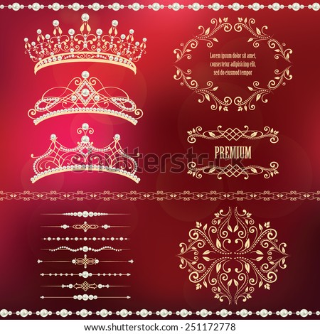 Royal design elements, vintage frames with dividers, borders, pearls and diadems in golden beige. Vector illustration. Isolated on blurred red background. Can use for birthday card, wedding invitation - stock vector