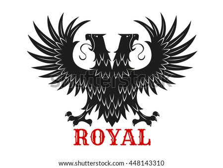 Royal eagle icon with mythical double headed black bird standing with wings spread. Symbol of courage and power for heraldic coats of arms or tattoo design usage - stock vector