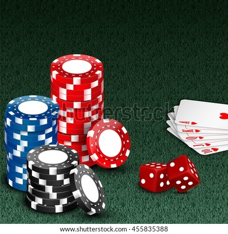 Royal flash with chips and dice on green.Vector