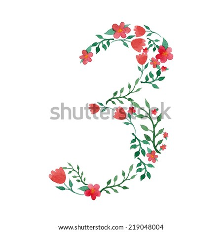 Royal floral number 3 painted with watercolor - stock vector