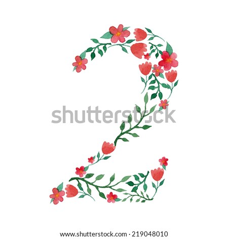 Royal floral number 2 painted with watercolor - stock vector