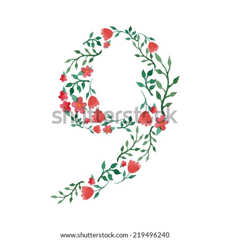 Royal floral number 9 painted with watercolor - stock vector