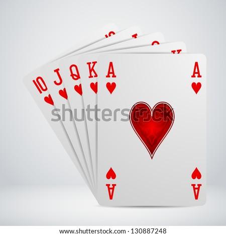 royal flush playing cards - stock vector