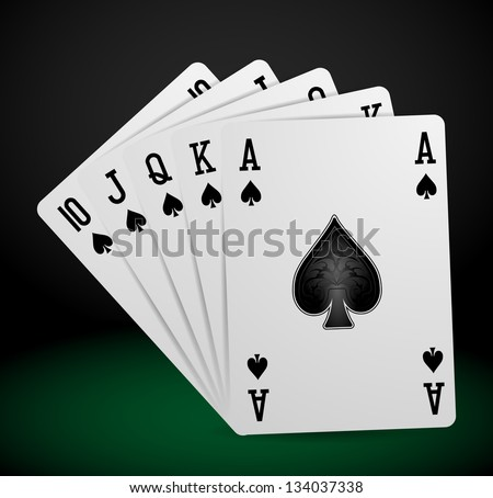 royal flush playing cards - stock vector