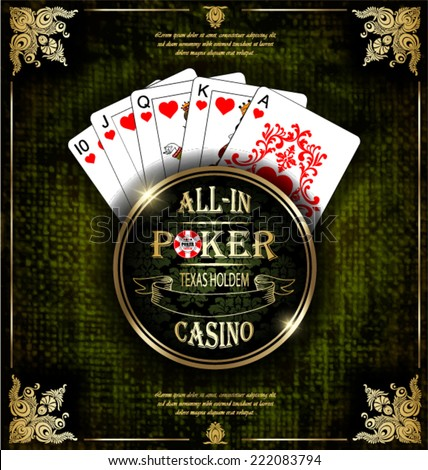 Royal flush playing cards poker hand in hearts. Vector background. Poker and casino label. Texas holdem. All-in.