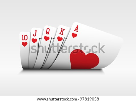 Royal flush playing cards poker hand on white background. - stock vector