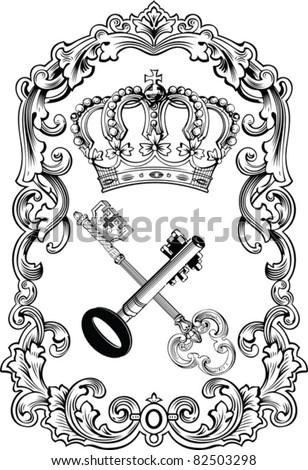Royal Frame Crown And Keys - stock vector