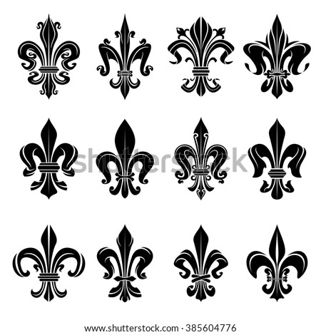 Royal French Heraldry Design Elements For Coat Of Arms Emblem Or Medieval With Black