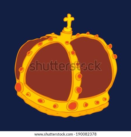 Royal Gold Crown vector illustration, hand drawn - stock vector